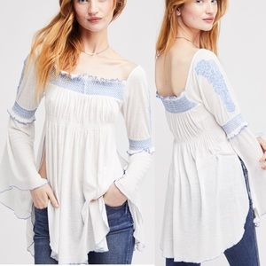 Free People Valley Embroidered Sidesplit Top